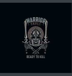 Warrior skull t shirt graphic design vector