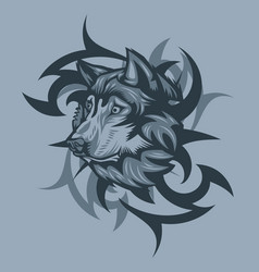 wolf with tribal background tattoo style vector image