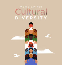 World day cultural diversity people teamwork card vector