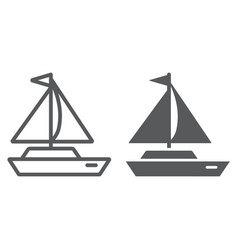 Yacht line and glyph icon transport and ship vector
