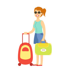young tourist woman traveling with luggage vector image