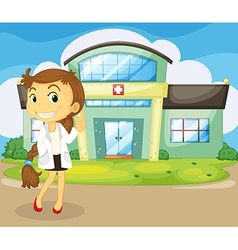 A doctor in front of the hospital vector image