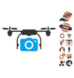 camera drone icon with valentine bonus vector image vector image