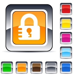 lock square button vector image