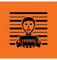 Prisoner in front of wall with scale icon vector
