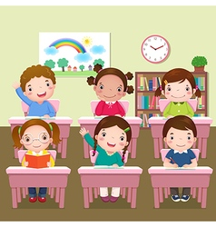 School kids studying in classroom vector image vector image