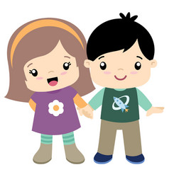 cute little girl and boy holding hands flat vector image vector image
