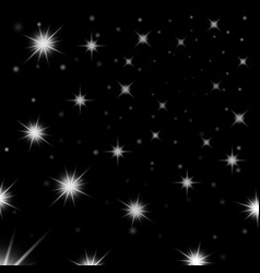 silver light stars on black background vector image vector image
