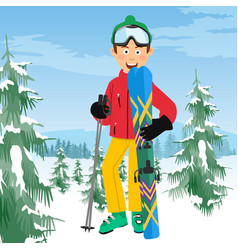 young happy skier with ski poles poses vector image vector image