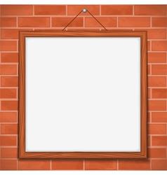 Frame on brick wall vector image vector image