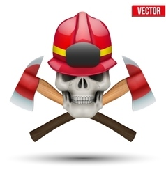 Human skull with firefighter helmet vector image vector image