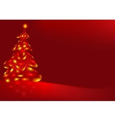 Red Background And Xmas Tree vector image