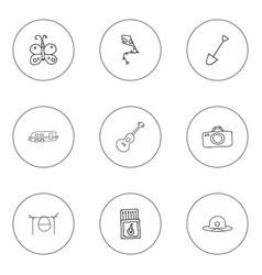Set of 9 editable travel doodles includes symbols vector