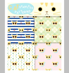 Set of animal seamless patterns with cat 1 vector image vector image