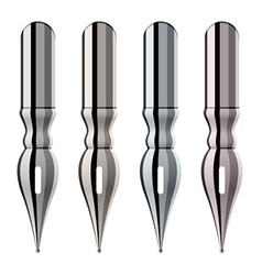 Chrome ink pen nibs vector