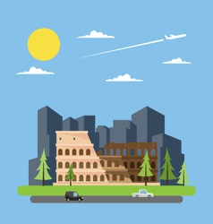 Flat design of coloseum Italy vector image vector image