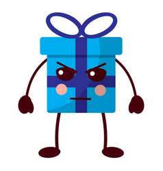 kawaii present cartoon angry facial expression vector image
