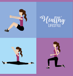 Set woman healthy lifestyle to do exercise vector