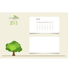 2015 calendar monthly calendar template for May vector