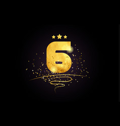 6 number icon design with golden star and glitter vector image