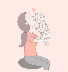 a happy mom is holding looking at the happy vector image