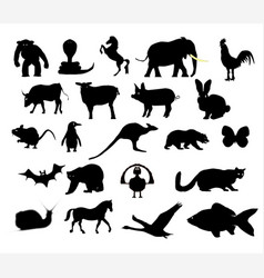 Animals collection silhouette vector