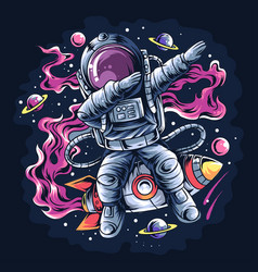 astronaut dabbing style on a space rocket vector image
