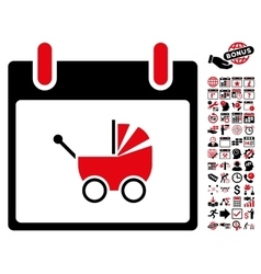 Baby Carriage Calendar Day Flat Icon With vector