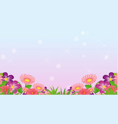 Background design template with colorful flowers vector
