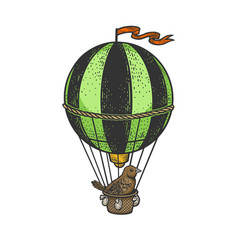 Bird on vintage air balloon sketch vector