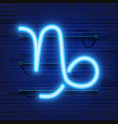 blue shining cosmic neon zodiac capricorn symbol vector image