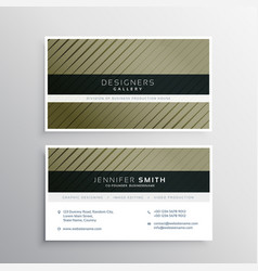business card design with diagonal straight lines vector image