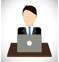 Businessman with laptop icon Business design vector