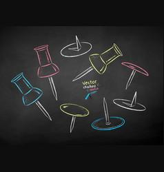 chalk drawn set push pins vector image
