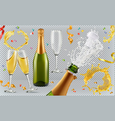 Champagne glasses bottle splash 3d realistic icon vector