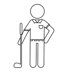 Character golf player uniform ouline vector