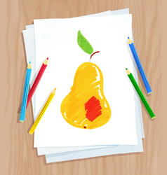 child drawing pear vector image
