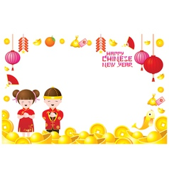 Chinese New Year Frame with Chinese Kids vector image