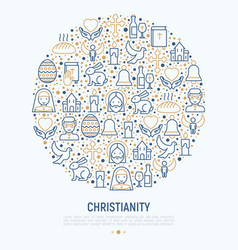 Christianity concept in circle vector