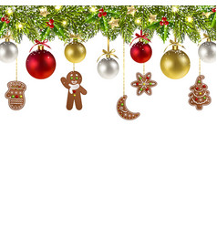 Christmas banner with christmas gingerbread vector