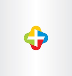 colorful cross medical symbol logo icon vector image