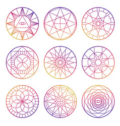 colorful esoteric geometric pentagrams vector image