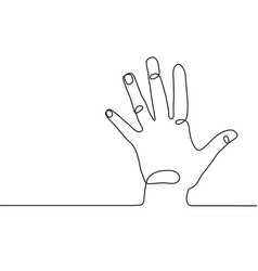 Continuous line drawing hand holding five vector