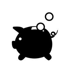 Contour save coins money inside pig vector