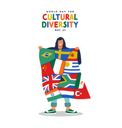 Cultural diversity day world country flag together vector