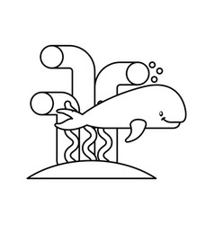 Cute whale isolated icon vector