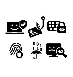 Cyber security icon set in bw vector
