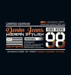 Denim 98 typography design for t-shirt vector