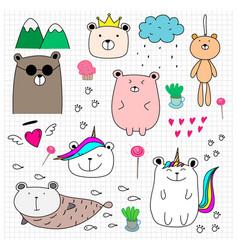 doodle cute bear set vector image