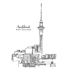 Drawing sketch auckland new zealand vector